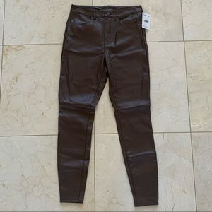 Free People NWT $78 Brown Pleather Skinny Pants